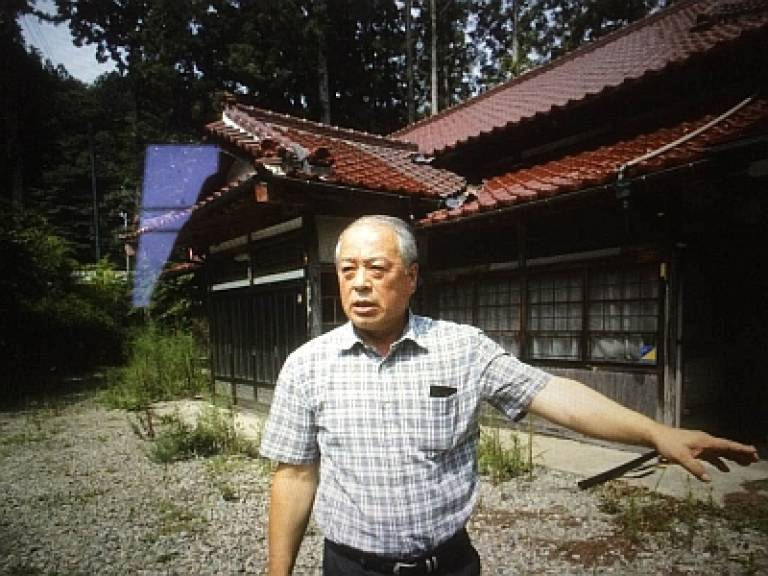 Professor Osamu Ieda leaving home in the evacuation zone of Fukushima…