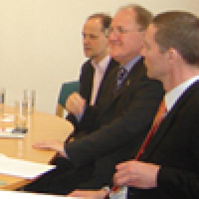 HE Dr Dušan Čaplovič speaking to Tim Beasley-Murray, Robin Aizlewood and Tomasz Mickiewicz with HE Mr Juraj Zervan, the Slovak Ambassador to the UK…