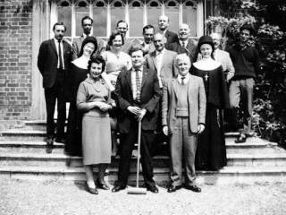 28 May 1961, Cumberland Lodge, Windsor Great Park. Mr S Zinny, with croquet mallet, with other members of the SSEES weekend seminar.…