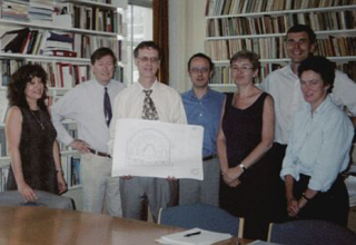 The 'signing off' ceremony for the new building for SSEES, 2003: Maria Widdowson, Lesley Pitman, Professor Julian Graffy and Angela Clemo with architects Alan Short and Adam Whiteley and Neil Turvey (Turner and Townsend).…