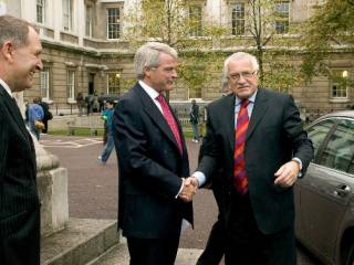 Professor George Kolankiewicz and Professor Malcolm Grant greeting HE Václav Klaus at the 2005 opening of the new SSEES building…