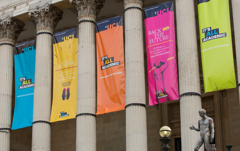 UCL Portico pillars with campaign banners