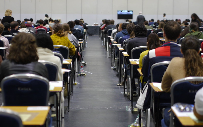 Students sitting in an exam hall
