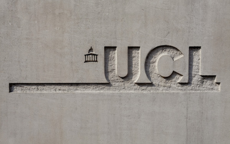 UCL logo in wall