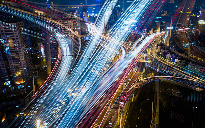 Bird's eye view of a busy road at night