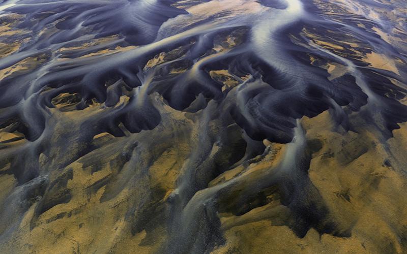 Bird's eye view of a river delta