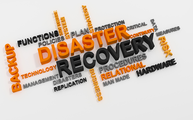 Digital image of words about disaster recovery