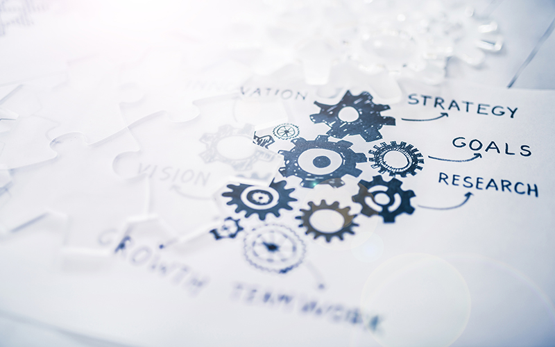 Illustration of strategy with cogs
