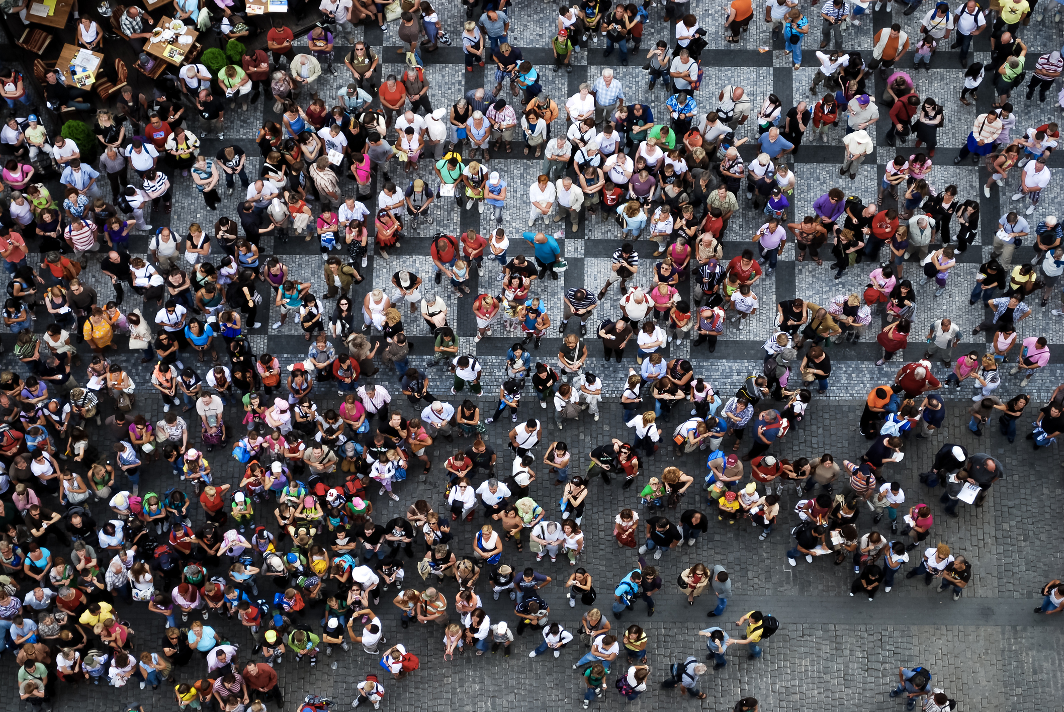 Bird's Eye view of people crossing a road