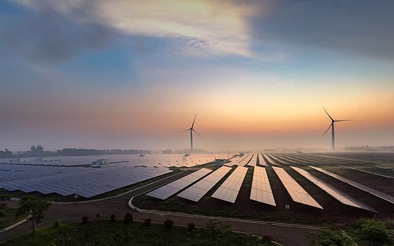 Image of solar panels and wind turbines at sunrise