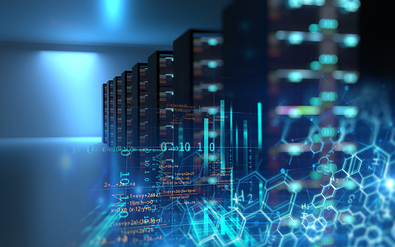 Abstract image of computer servers and digital code