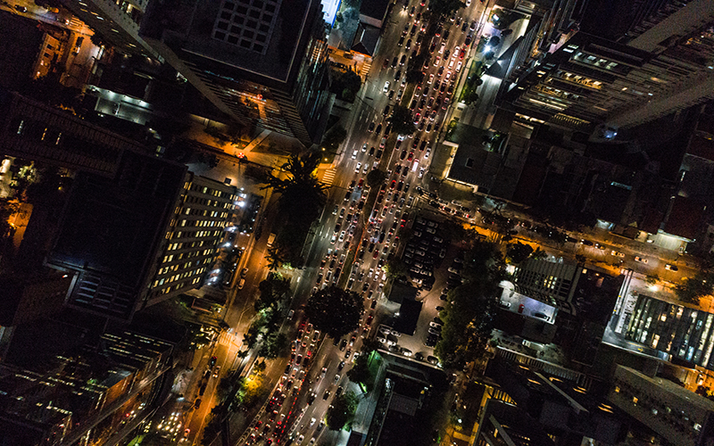 Bird's eye view of a city at night