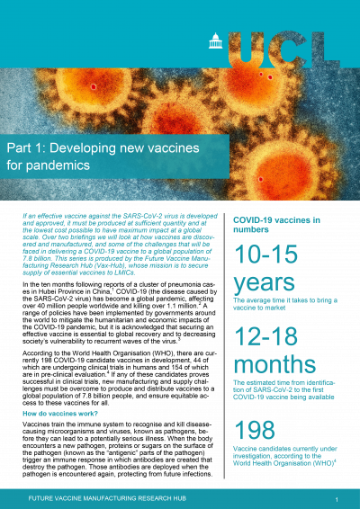 Front page of policy brief for Developing new vaccines for pandemics