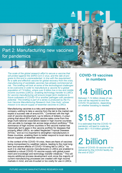 Front page of policy brief for Manufacturing new vaccines for pandemics