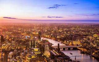View of London and the River Thames at night