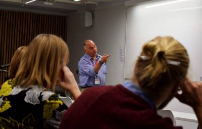 Prof. Joe Cain presents at the Women in Science Inset Day.