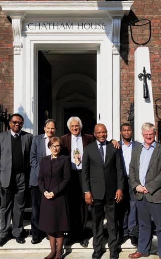 Prof. Sarah Edwards with various luminaries at Chatham House