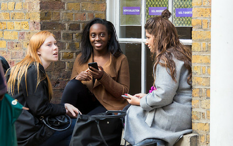 Students sat outside the Print room cafe