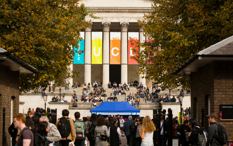 UCL main quad full of students in September 2017