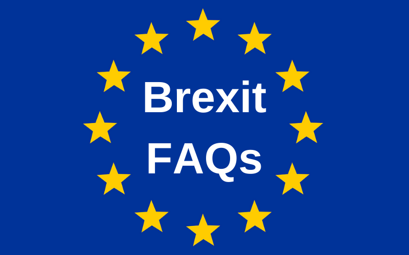 The EU flag with text reading 'Brexit FAQs'