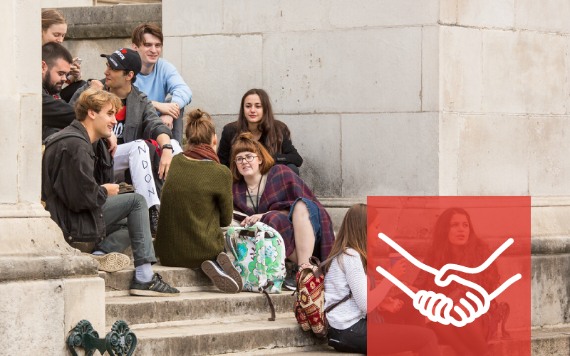 Students on the UCL Portico steps