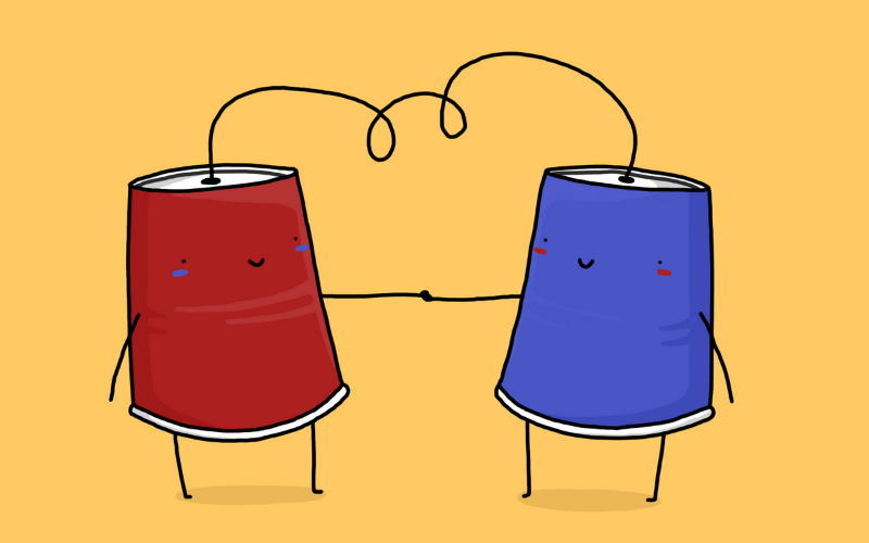 Illustration of two cups connected by string