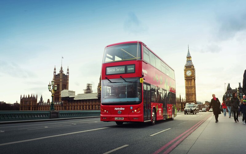 A red, double decker bus