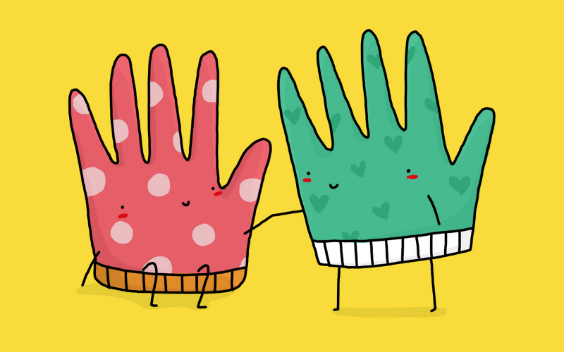Illustration of two gloves with happy expressions