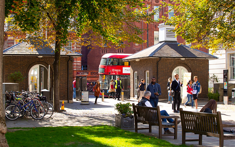 students walking around main quad at UCL