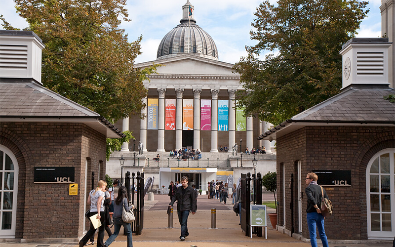 banners on UCL portico with students arriving for start of term