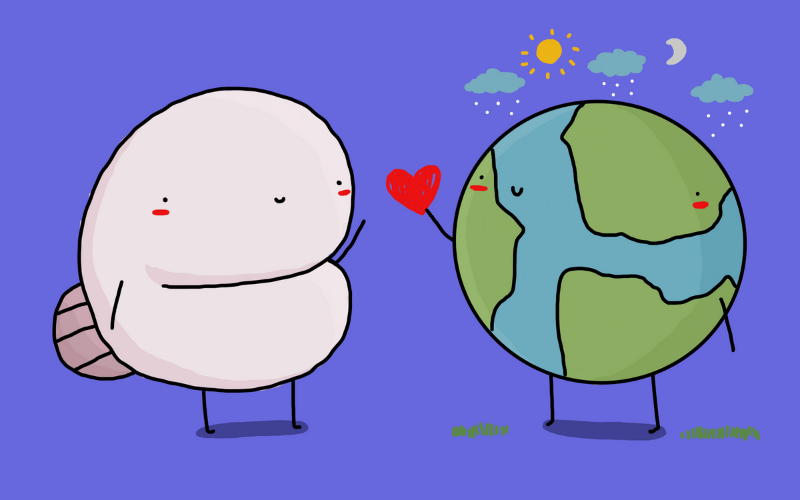 Illustration of planet Earth giving a hippocampus a heart