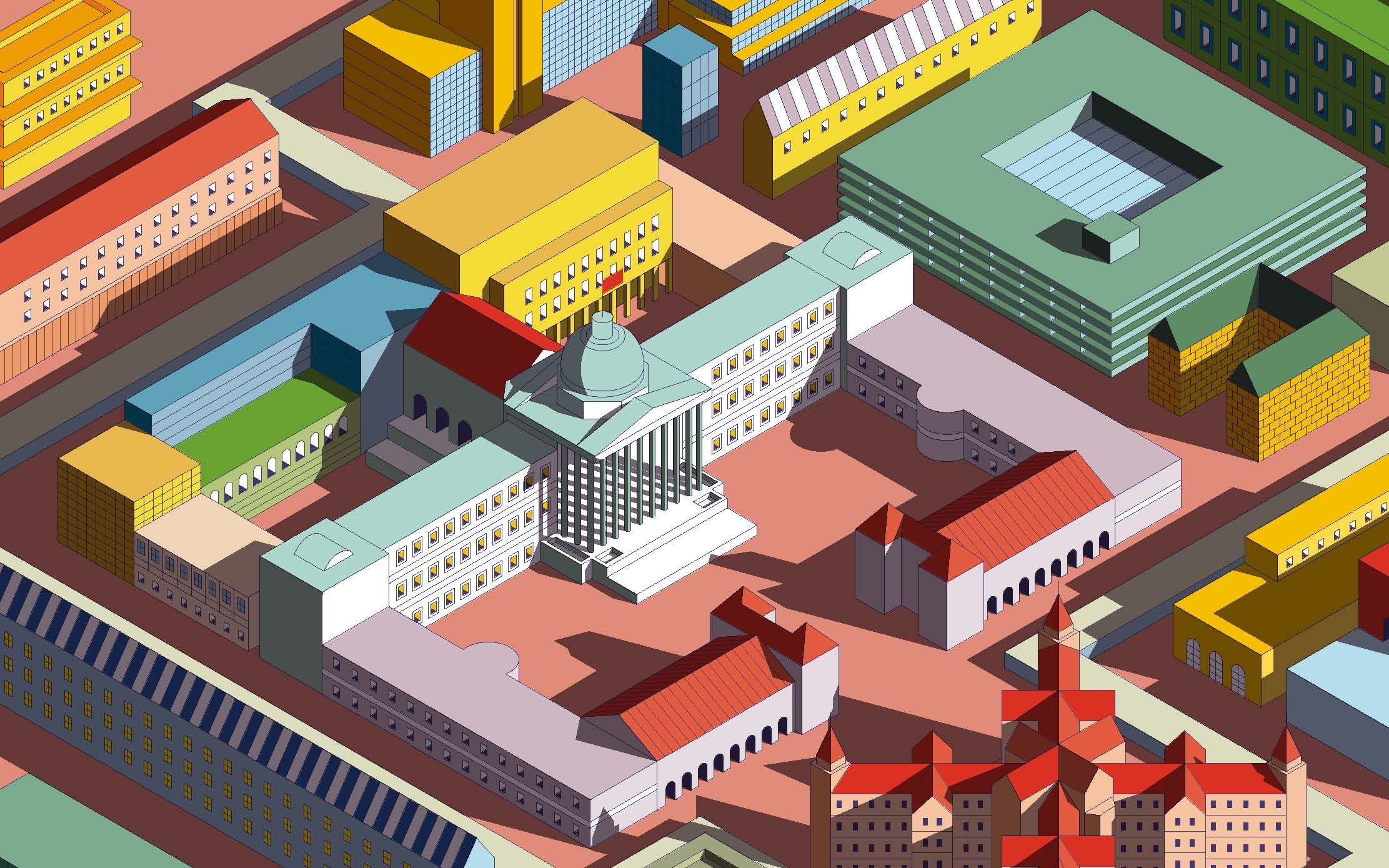 Illustration from New Students' Guide cover of famous UCL buildings