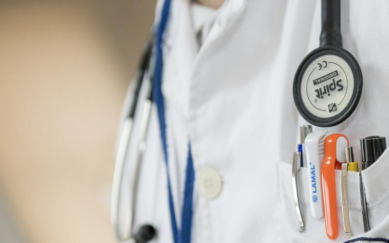 A nurse's stethoscope