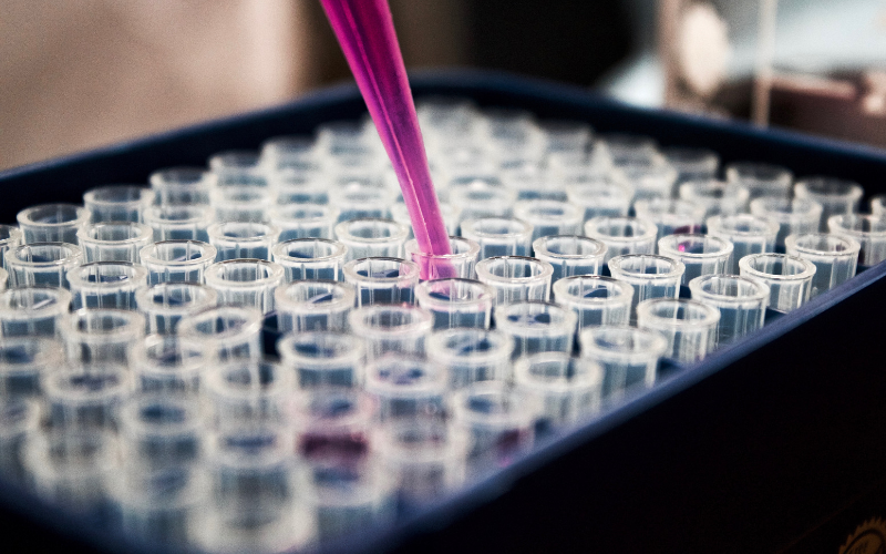A pipette being used to put liquid into test tubes