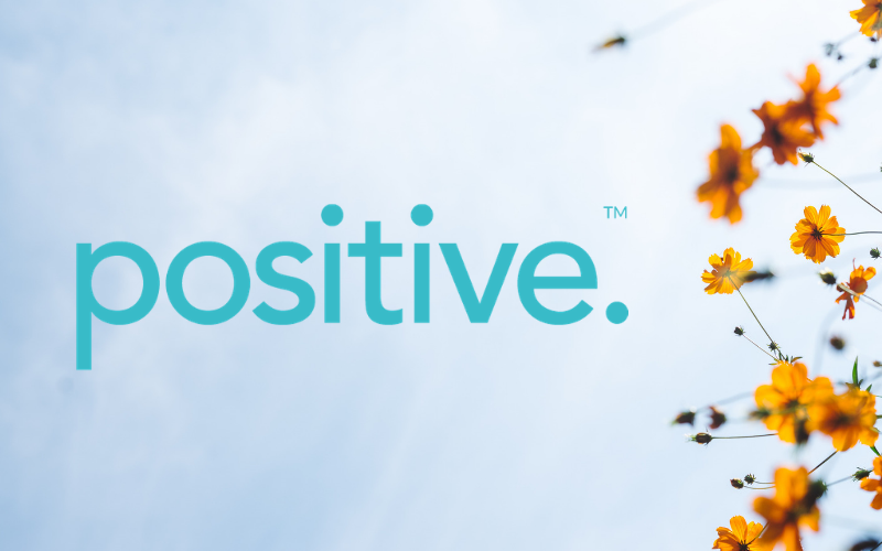 Positive logo with flowers