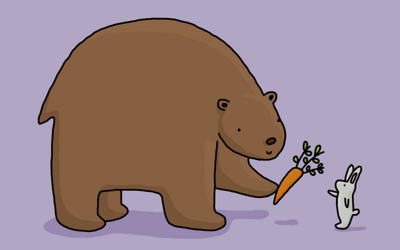 Illustration of bear giving carrot to rabbit
