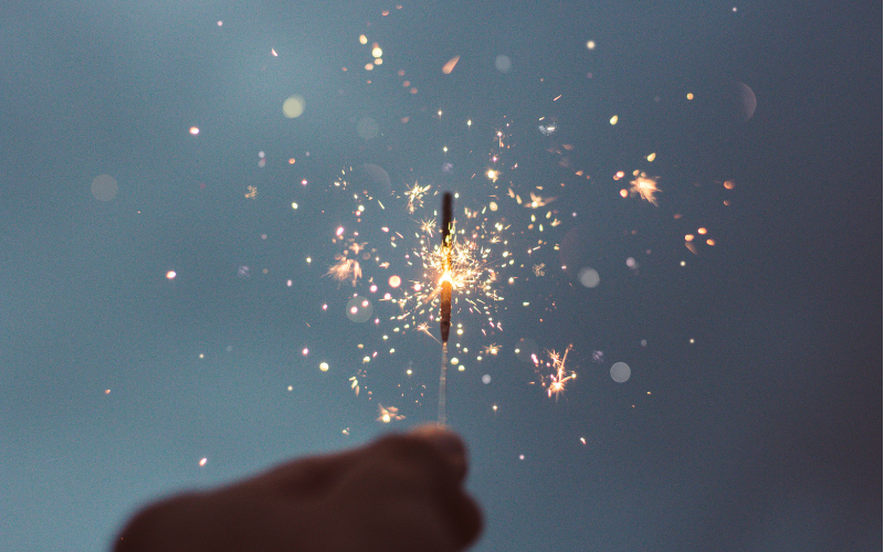 Someone holding a sparkler