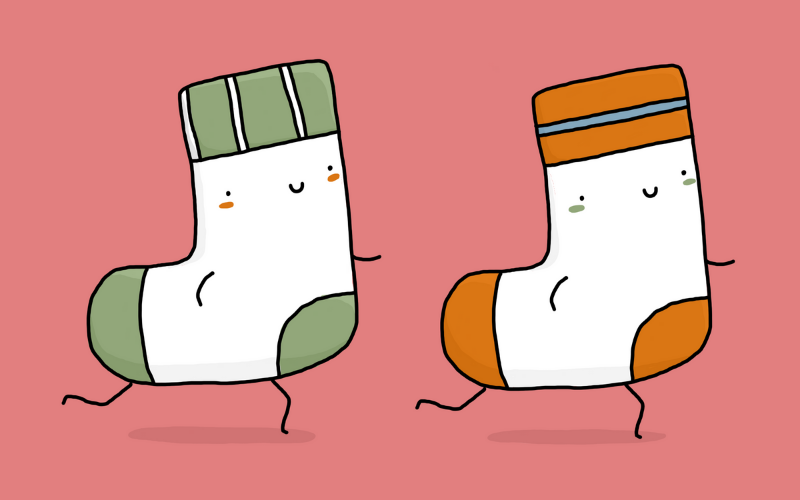 Illustration of two socks running together