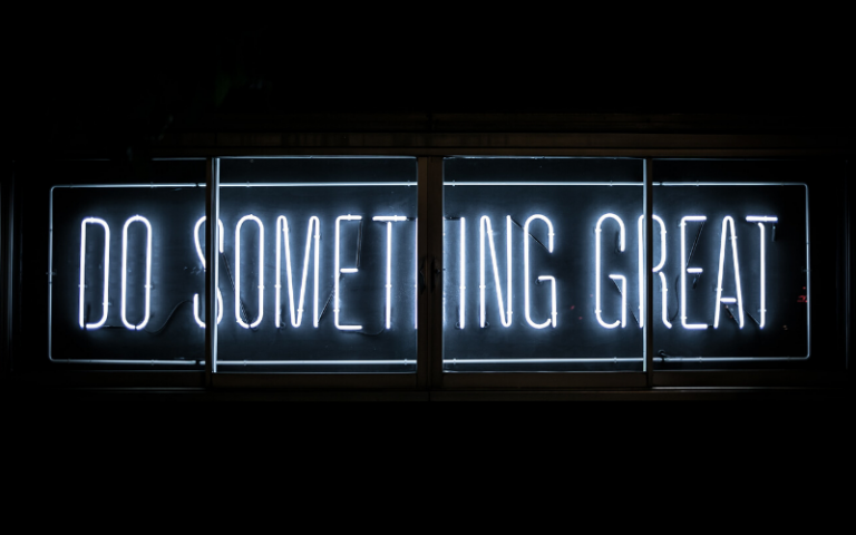'Do something great' neon sign