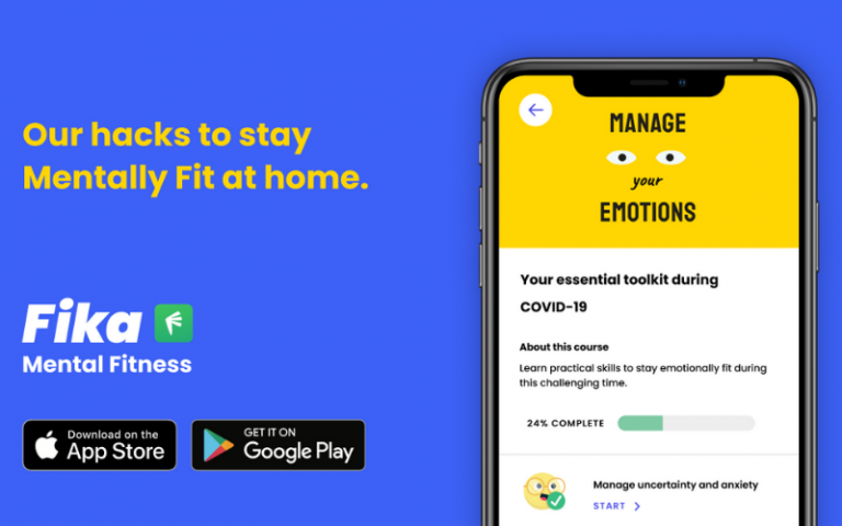 Fika promotional image showing the 'Manage your emotions' screen on the Fika app, text reading 'Our hacks to stay mentally fit at home', the Fika logo, and 'Download on the App Store' and 'Get it on Google Play' icons