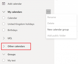 Q&As Q: I used Subscribe option and followed instructions but I can't see My Name calendar in O365?   A: To keep your personal My calendars intact, exam timetable Subscribe option tries to add exams to a separate calendar group called Other calendars, by