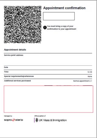 UKVCAS appointment confirmation letter