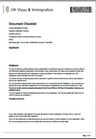 Visa application document checklist