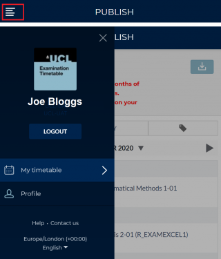 To sign out select the MAIN MENU in the blue ribbon and click LOG OUT: