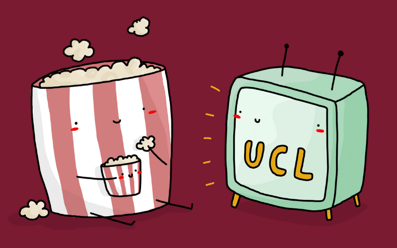 Illustration of popcorn character watching TV