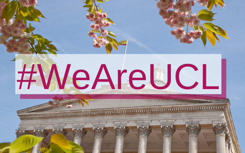 #WeAreUCL campaign icon, showing cherry blossom, the UCL Portico building and