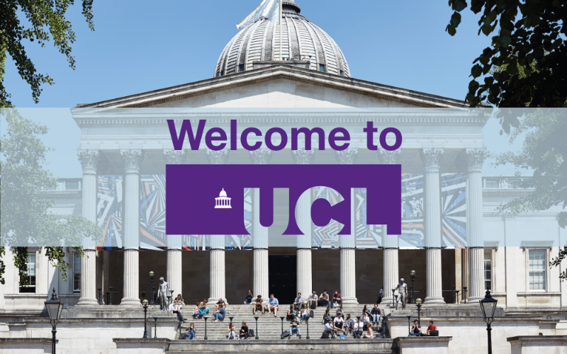 UCL's Portico with 'Welcome to UCL' overlaid