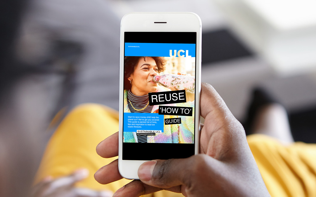 Image of the reuse guide front page shown on a smartphone