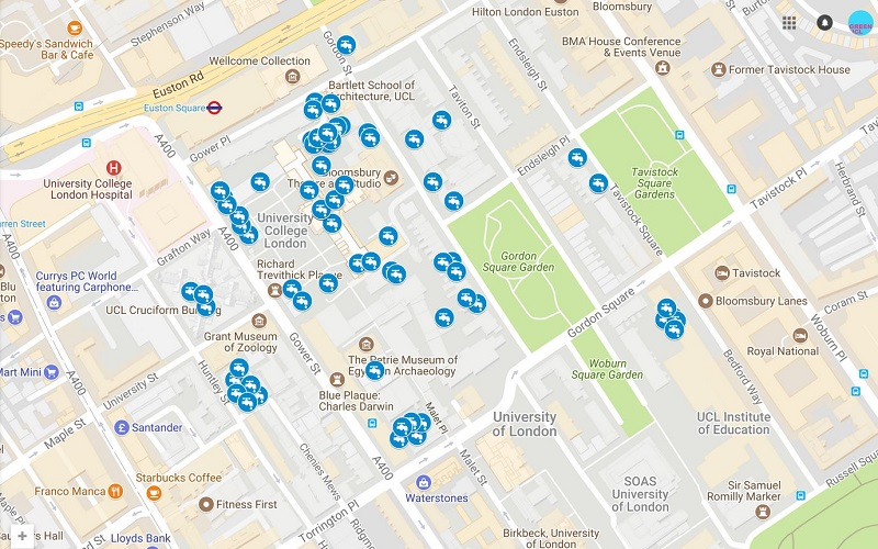 Map of Water Fountains at UCL