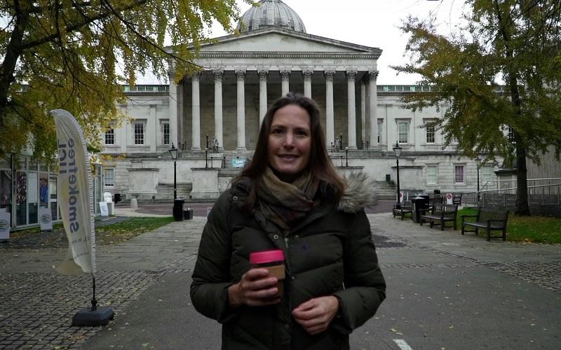 Helen Czerski in front of UCL Portico